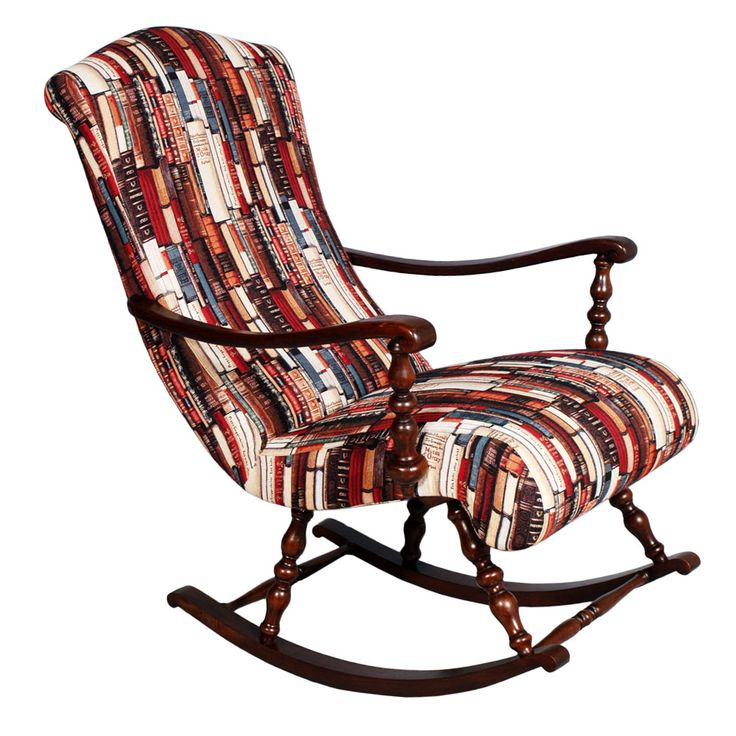 Victorian rocking chair in turned walnut - Upholstered armchair...