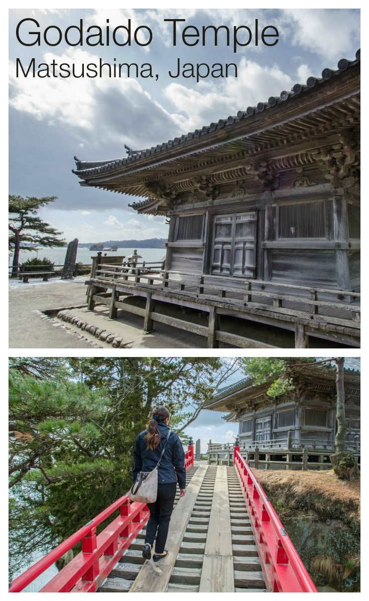 "Godaido Temple is a 400 year old buddhist worship hall on a small island in Matsushima Bay, Japan. To get to the island from the mainland, you cross a red wooden bridge called Sukashi-bashi (""see through bridge"") because you can see the ocean through the large gaps in the floor."