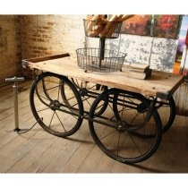 57 in. Recycled Wood and Iron Vendor CartCoffe Tables, Design Inspiration, Coffee Tables, Vendor Carts, Bikes Wheels, Recycle Furniture, Recycled Wood, Old Bikes, Recycle Wood