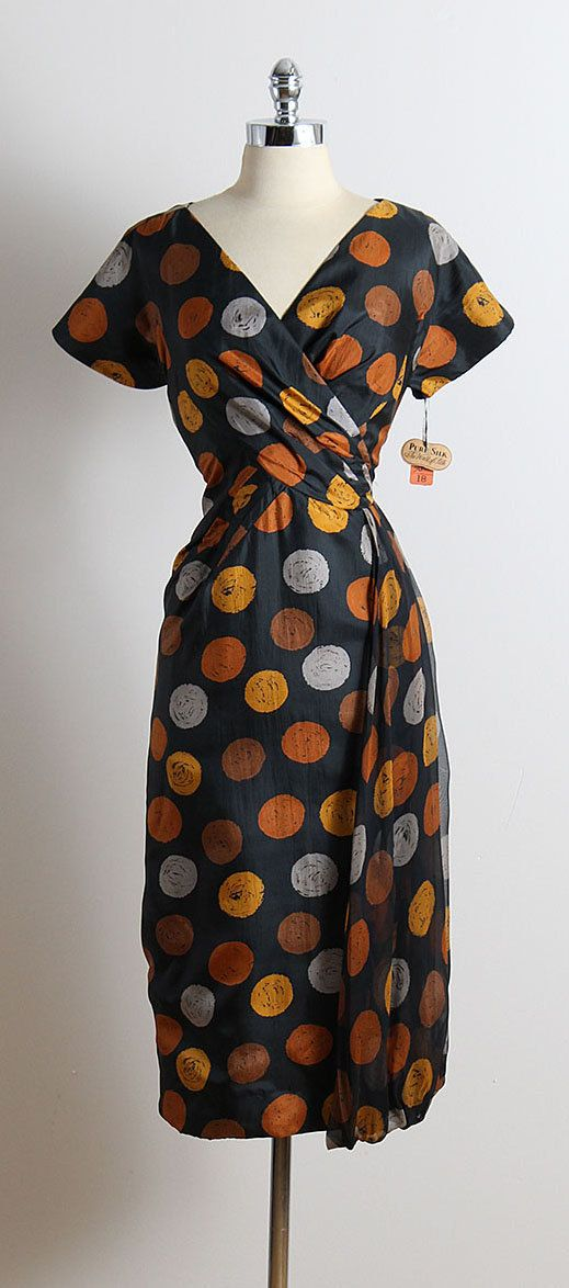 ➳ vintage 1950s dress * black dot print silk * acetate lining * left sheer silk sash accent * metal back zipper * deadstock with original tags