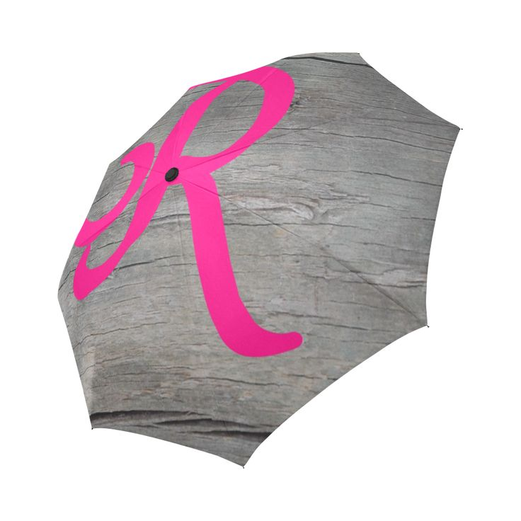 Hot pink R on gray wood background Auto-Foldable Umbrella