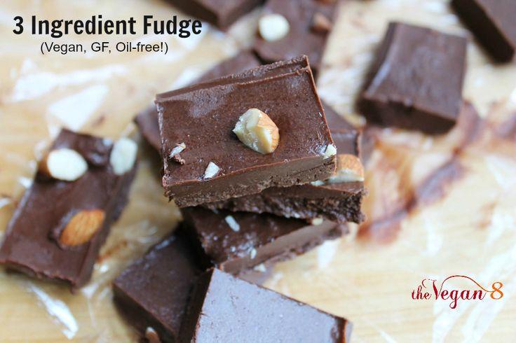 3 Ingredient Fudge that is NOT made with any oil! | http://TheVegan8.com | Vegan, Gluten-free and oil-free |  #vegan #fudge #chocolate #glutenfree #oilfree #dairyfree