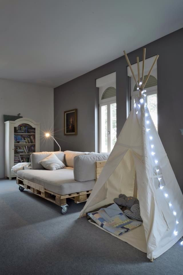 DIY home - sofa-bed custom made from wood pallete and tee pee-made by soul craft zone.
