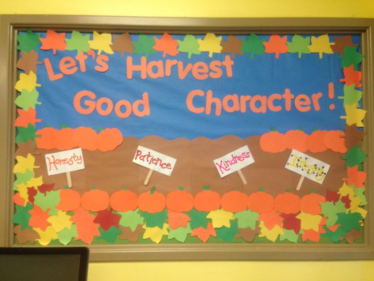Quot Let S Harvest Good Character Quot Fall Bulletin Board For