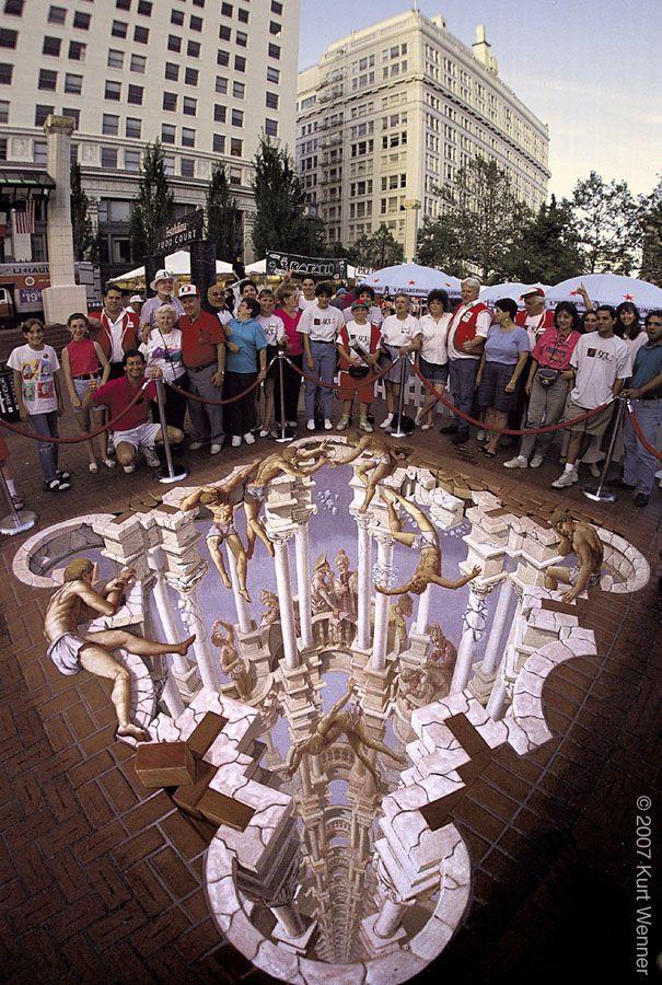 Pillars of illusion. 3D street art.  000