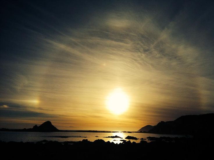 Solar halo over island bay, Wellington.