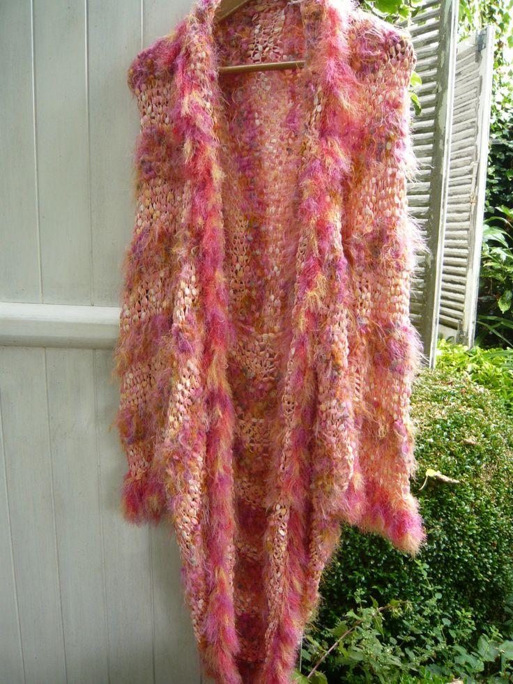 "Girl Doll 11"" High Wearing Vegan Hand Knit Cowl Scarf Comfort Blanket. Hat"