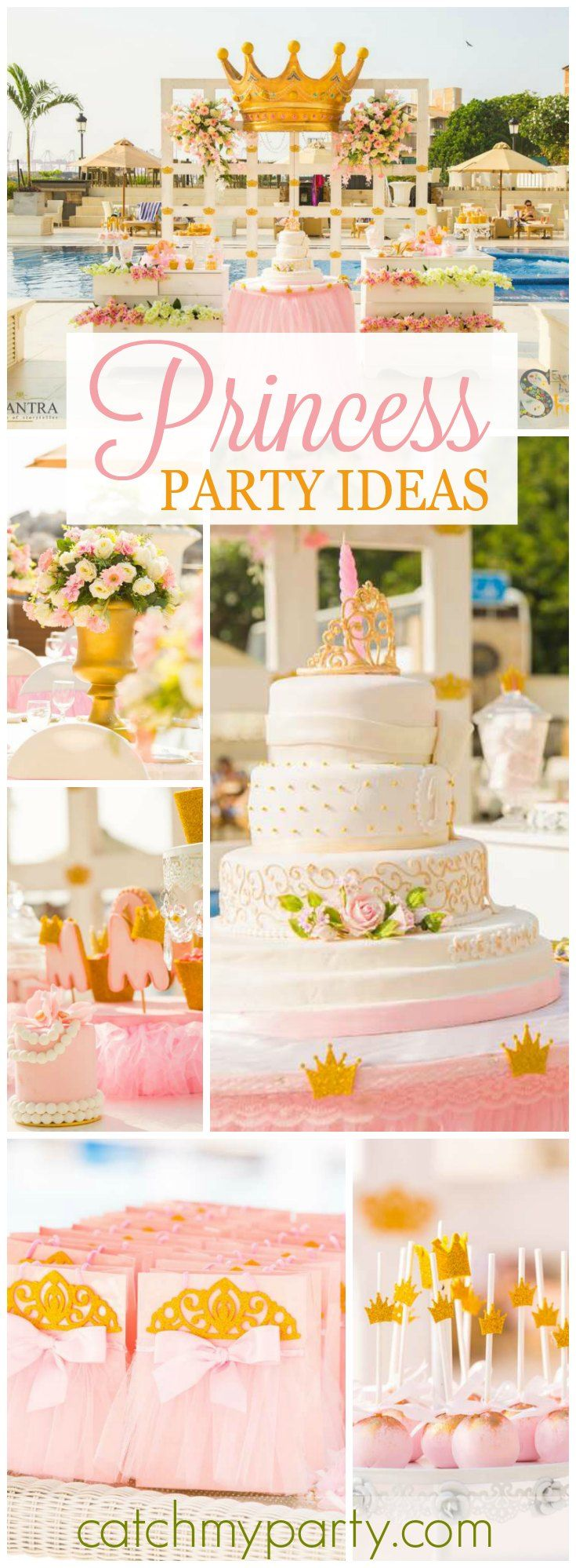 What a pretty pink and gold princess birthday party! See more party ideas at CatchMyParty.com!