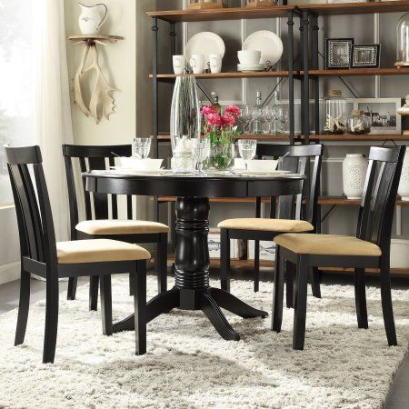 Lexington 5-Piece Round Dining Set with 4 Slat Back Chairs, Beige