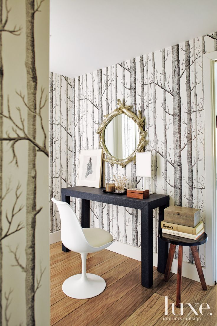 Contemporary White Dressing Area with Wallcovering