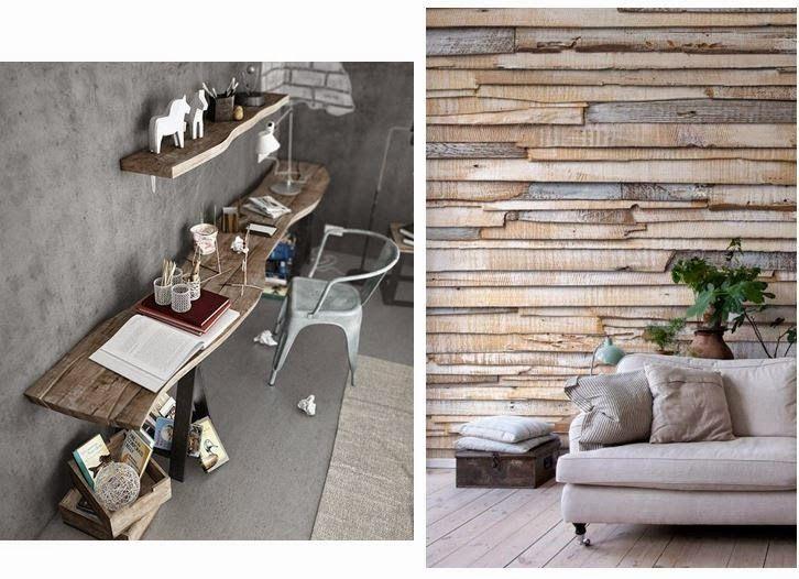 """Uso de madera en """"bruto"""", sin tratar, o reutilizada como mesa o recubrimiento mural para paredes. Mi casa, mi oasis"""