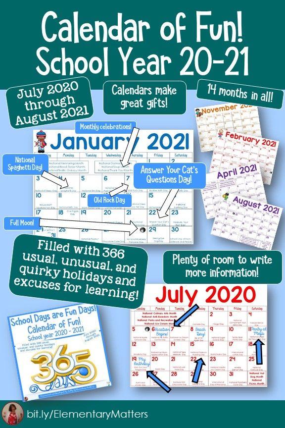 Calendar of Fun 2020   2021 School in 2020 | Elementary resources