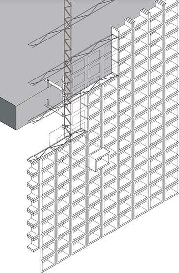 Al separarse de los forjados las costillas, es posible crear un paño cerámico continuo y homogéneo.