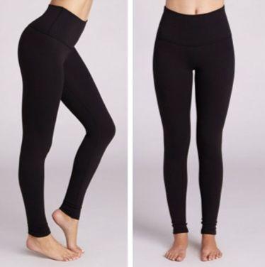 Slip on high-waisted leggings.