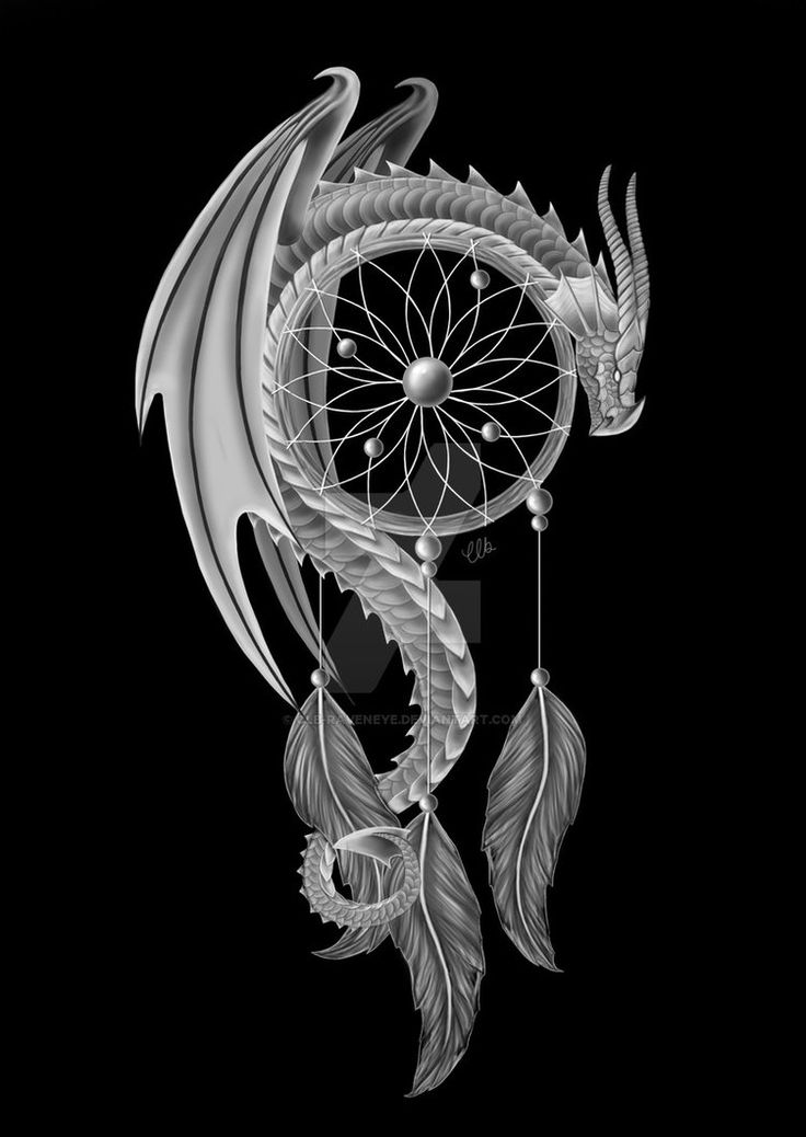 I was approached and asked to design a tattoo which combined a dragon and a dream catcher, here is the end result (they also asked for it to be black & white). Anyone is welcome to use the desi...