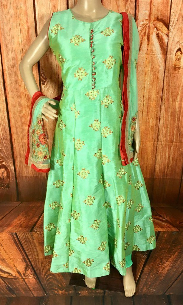 Sea Green color blended with an Yellowish tone creates an alluring color that everyone will surely love. This Anarkali suit with all over body self color embroi