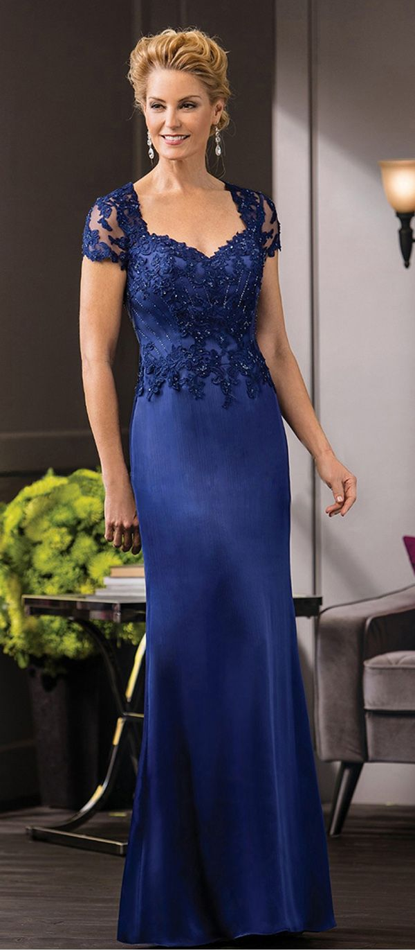 Amazing Tulle & Satin Chiffon V-neck Neckline Sheath Mother of The Bride Dresses With Beaded Lace Appliques