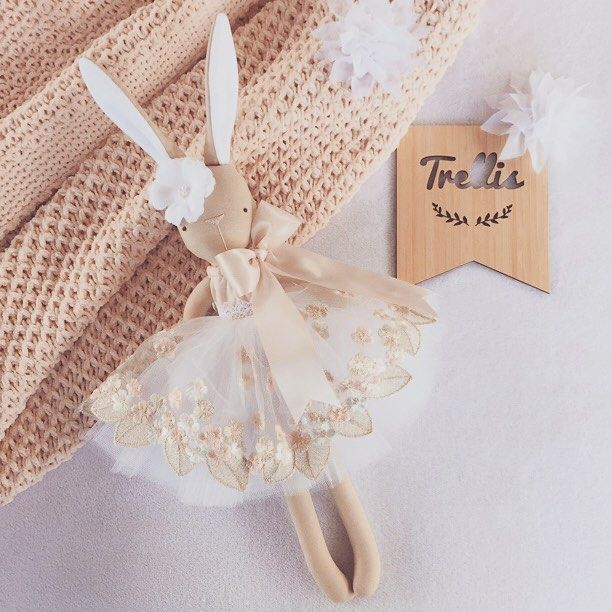 """**Update SOLD** blush•white•gold Miss Willow is now available ...she is $90 + postage If you would like to purchase...please comment """"sold"""" and message me with your PayPal details (Immediate payment will be required) She is not recommended for young children due to her small delicate embellishments...room decor only #blush #goldthread #luxe #handmade #blushwhitegold #bunnydecor #instadecor #nurserydecor #bunny #clothdoll #girlsnursery #babyroom #babyshower #bunny #bunnydoll #bunnyl..."""