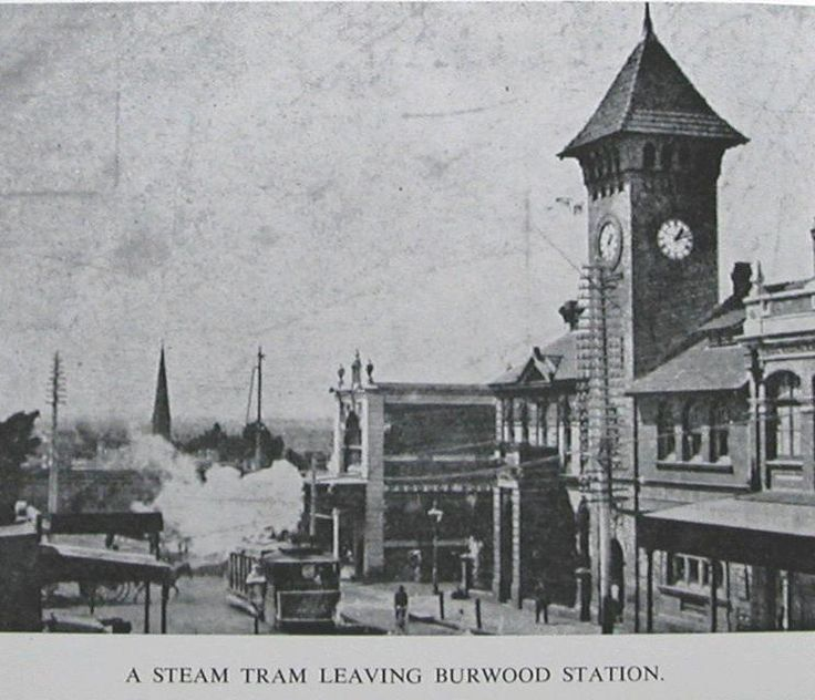 steam tram leaving Burwood station