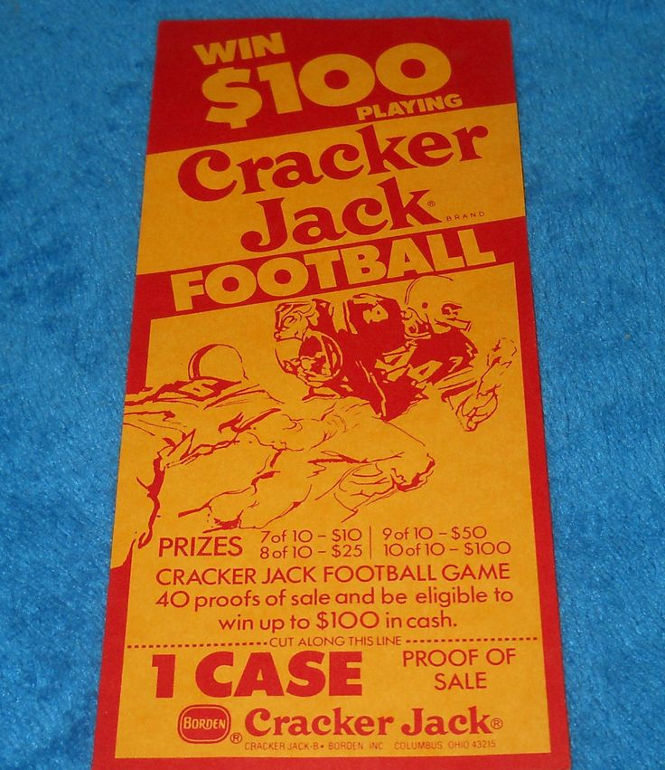 1960's Cracker Jack Football Coupon~Win 100~Proof of Sale Coupon by memoriestreasures on Etsy
