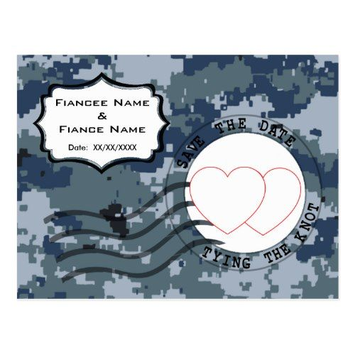 USN Navy Save the Date and Hearts Postcard