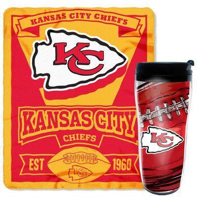 Northwest Co. NFL Chiefs 2 Piece Fleece Throw and Travel Mug Set