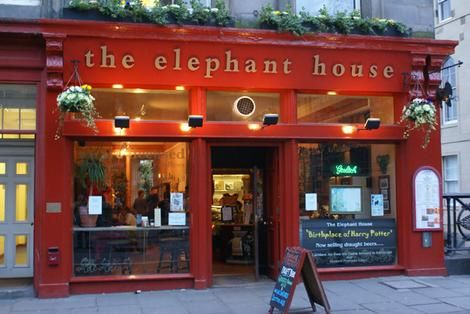 "The Elephant House, a tea and coffee house in Edinburgh, Scotland is said to be the ""birthplace of Harry Potter"": J.K. Rowling having sat writing much of her early novels in the back room overlooking Edinburgh Castle.  Today, Harry Potter fans from all over the world visit here and leave notes, write quotes on the walls, and share their love for Potter in one of the fandom's landmarks."