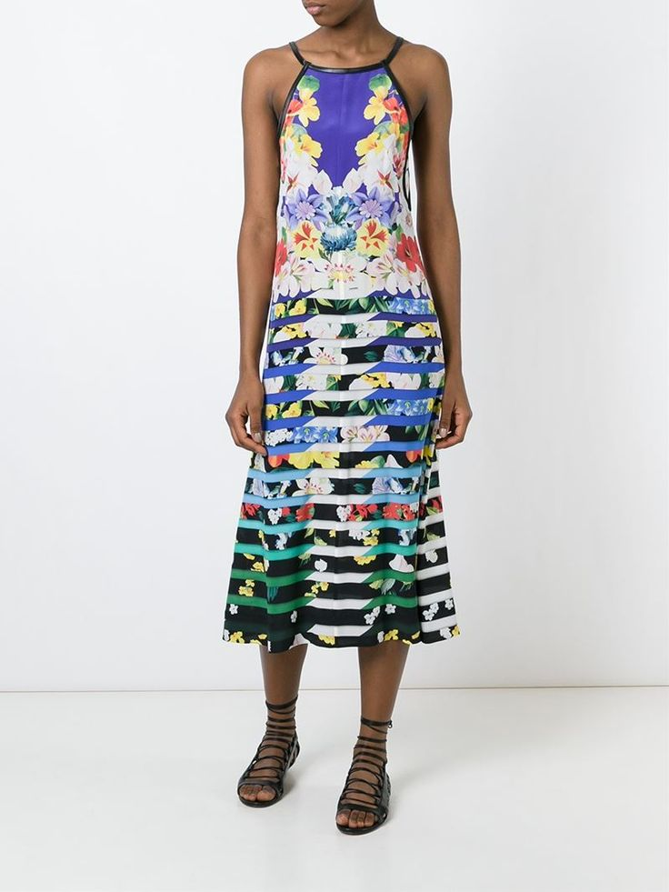¡Cómpralo ya!. Mary Katrantzou Vestido Rebel. Vestido Rebel en seda multicolor de Mary Katrantzou con cuello redondo, tiras en los hombros, diseño sin mangas, diseño con la espalda al descubierto, ribetes de cuero, estampado floral y corte tipo A. , vestidoinformal, casual, informales, informal, day, kleidcasual, vestidoinformal, robeinformelle, vestitoinformale, día. Vestido informal  de mujer color negro de MARY KATRANTZOU.