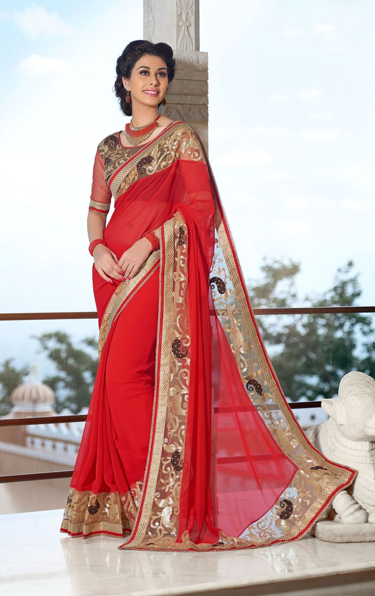 Red Georgette Party Wear Saree 65824