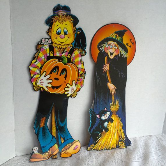 Vintage Halloween Classroom Decor / Witch and Scarecrow Posters