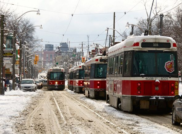 Streetcars in the snow