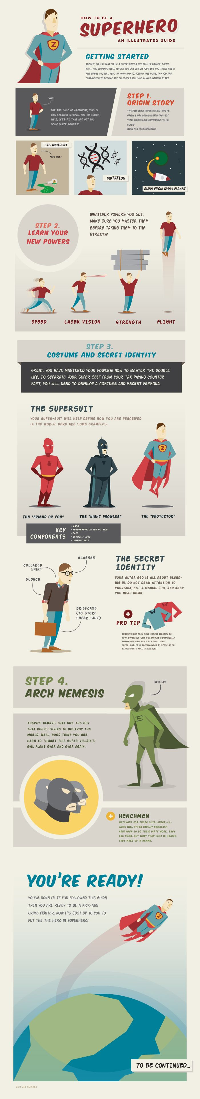 Unique Infographic Design, How To Be A Superhero @holasoyjorge #Infographic #Design (http://www.pinterest.com/aldenchong/)