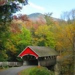 New England Fall Drives: Covered Bridge at the Flume Gorge - Franconia Notch, New Hampshire
