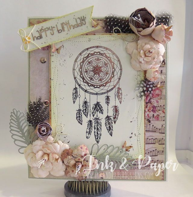 Boho Chic Foiled Dreamcatcher and foiling on Acetate (so cool) Love these Prima papers