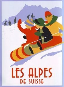 1920's Swiss Alps Travel Poster