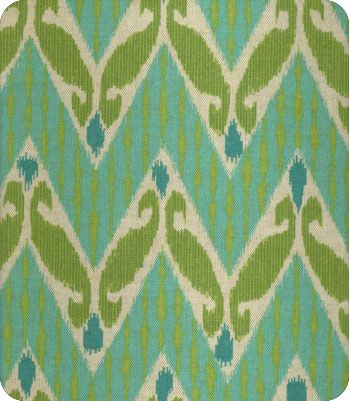 Zig Zag Ikat DL in Aqua - turquoise & lime green fabric - $21.98/yd