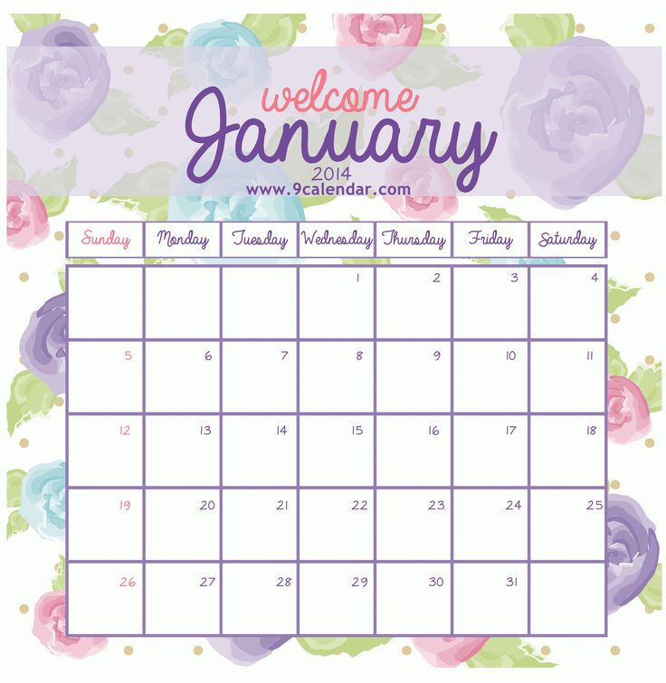 Cute Printable Calendar January PrintablePrintable Coloring