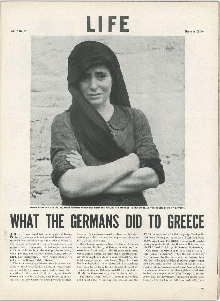 "Article in ""LIFE"" magazine about what the Germans did to Greece during WWII (the massacre at the town of Distomo)"