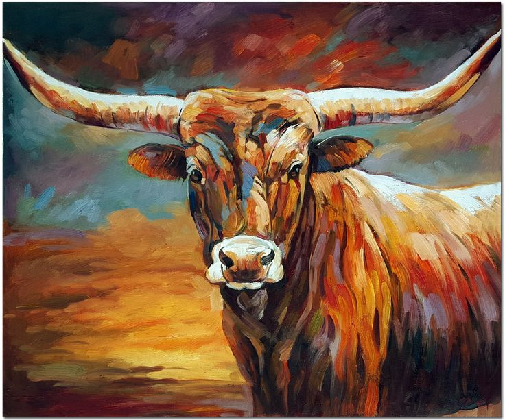 Genuine Texas Longhorn Oil Painting - Signed Hand Painted Impressinistic Cattle Cow Art