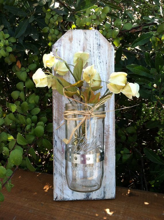 Mason Jar Wall Decor Pinterest : Rustic mason jar wall decor wood signs by hollywood