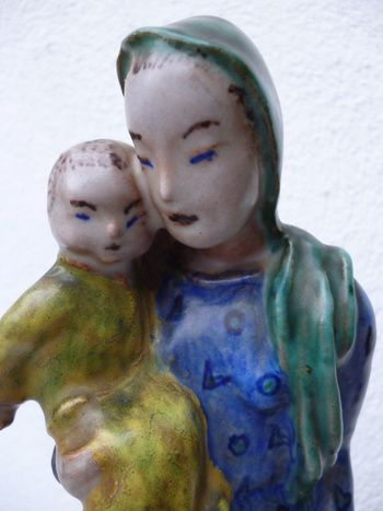 RARE ART DECO GOLDSCHEIDER MOTHER AND CHILD