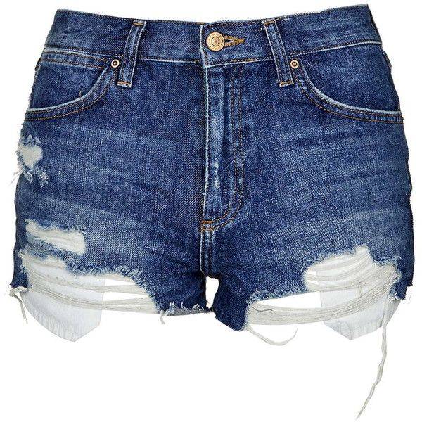 TopShop Moto Displaced Pocket Rosa Shorts ($40) ❤ liked on Polyvore featuring shorts, bottoms, mid stone, distressed shorts, topshop, topshop shorts, destroyed shorts and pocket shorts