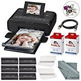#9: Canon SELPHY CP1200 Wireless Color Compact Photo Printer Bundle W/ 2Pk. Canon KP-108IN Color Ink and Paper Set & USB Printer Cable  FiberTique Cleaning Cloth