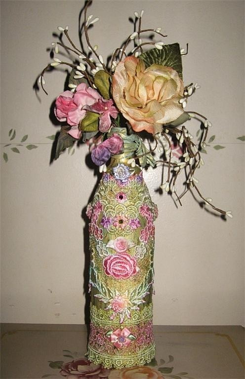 129 best carol 39 s paper flower cottage images on pinterest for Wine bottles decorated with flowers