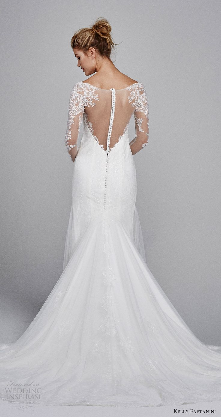 kelly faetanini bridal fall 2017 illusion long sleeves sweetheart trumpet lace wedding dress (delphine) bv illusion back train -- Kelly Faetanini Fall 2017 Wedding Dresses