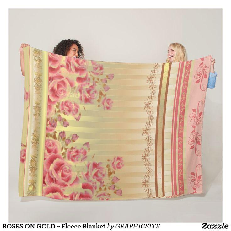 ROSES ON GOLD ~ Fleece Blanket
