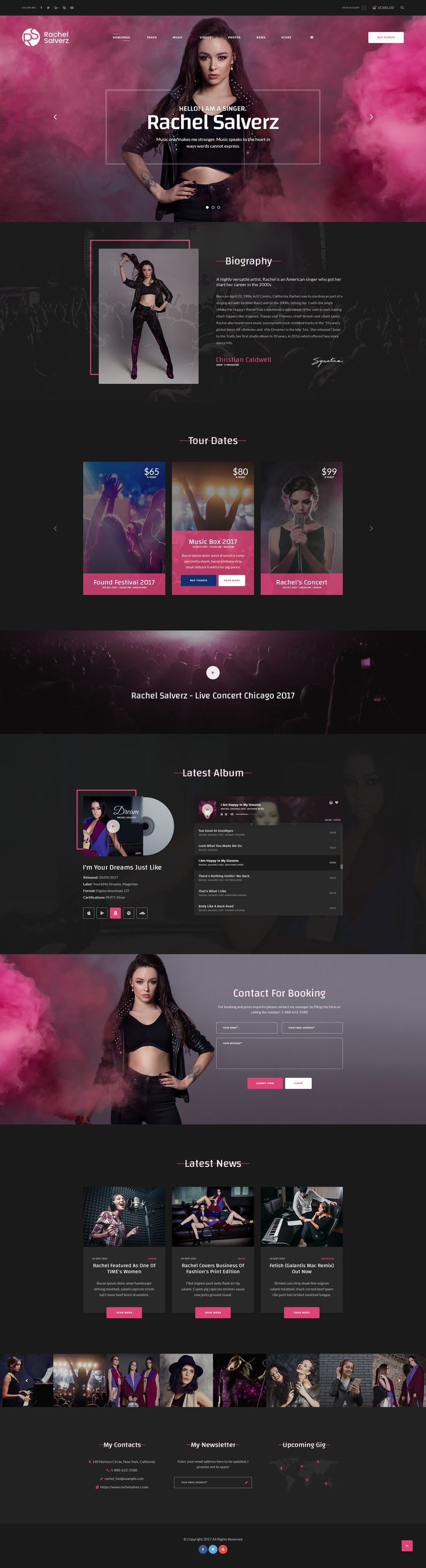 Singer - Music Singer PSD Template #music band #musical #musician • Download ➝ https://themeforest.net/item/singer-music-singer-psd-template/20760710?ref=pxcr
