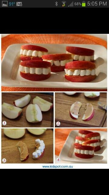 TEETH from apples, peanut butter and marshmallows, makes kids smile... fun kid's party food snack; upcycle, recycle, salvage, diy, repurpose!  For ideas and goods shop at Estate ReSale & ReDesign, Bonita Springs, FL