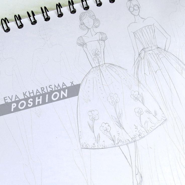 Poshion Sketch Book | #fashionillustration #sketchbook #fashionsketch #fashiondesign #draw #croquis #learntodraw #fashionposes #fashionfigure #gaunpesta #fashion