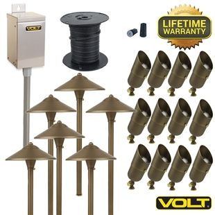 Brass Lifetime LED Landscape Lighting Kit | (12) Spot (6) Path Kit | VOLT®